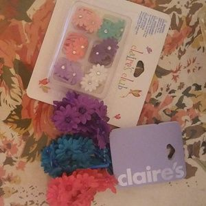 Flower hair tie set Claire's. NWT